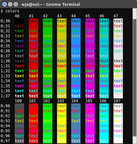 command line - Script to display all terminal colors - Ask