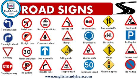 Road Signs and Traffic Symbols - English Study Here