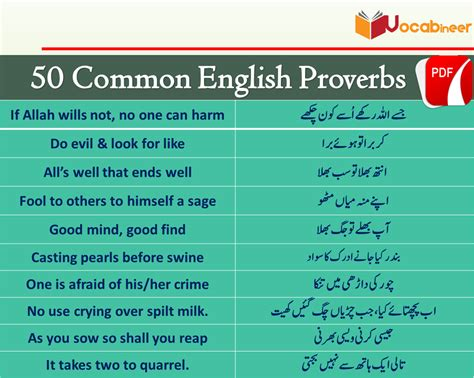 Proverb Meaning in Urdu Translation and PDF